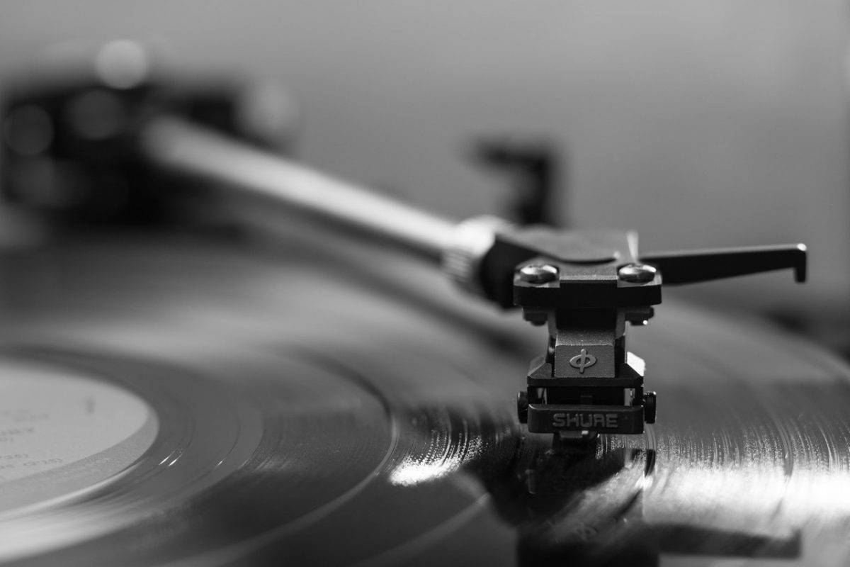 Photo of a vinyl record player